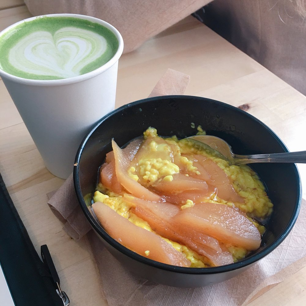 Matcha latte & turmeric ginger steel cut oats with poached pears. Looks funky but is delicious!!