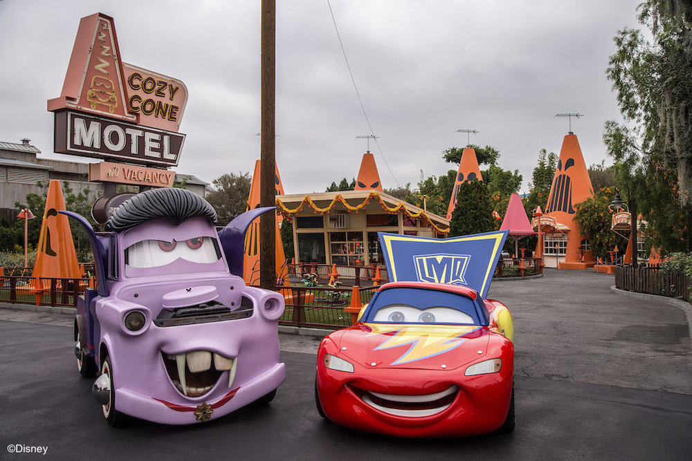 CARS LAND HAUL-O-WEEN - Everyoneís favorite Cars characters have transformed Radiator Springs into their own Haul-O-Ween celebration during Halloween Time at the Disneyland Resort. For the first time, the Cars characters will be donning their Halloween ìcar-stumesî as they greet guests and prepare to go ìtrunk-or-treating.î Mater will be wearing his vampire or ìvan-pireî outfit, while Lightning McQueen is dressed as a super hero. Cruz Ramirez, Red the Fire Truck and DJ get dressed up as a pirate, a clown and a punk rocker, respectively. (Joshua Sudock/Disneyland Resort)