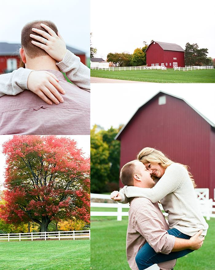 grand rapids engaged couple laugh as they post for romantic engagement photos during fall engagement session.