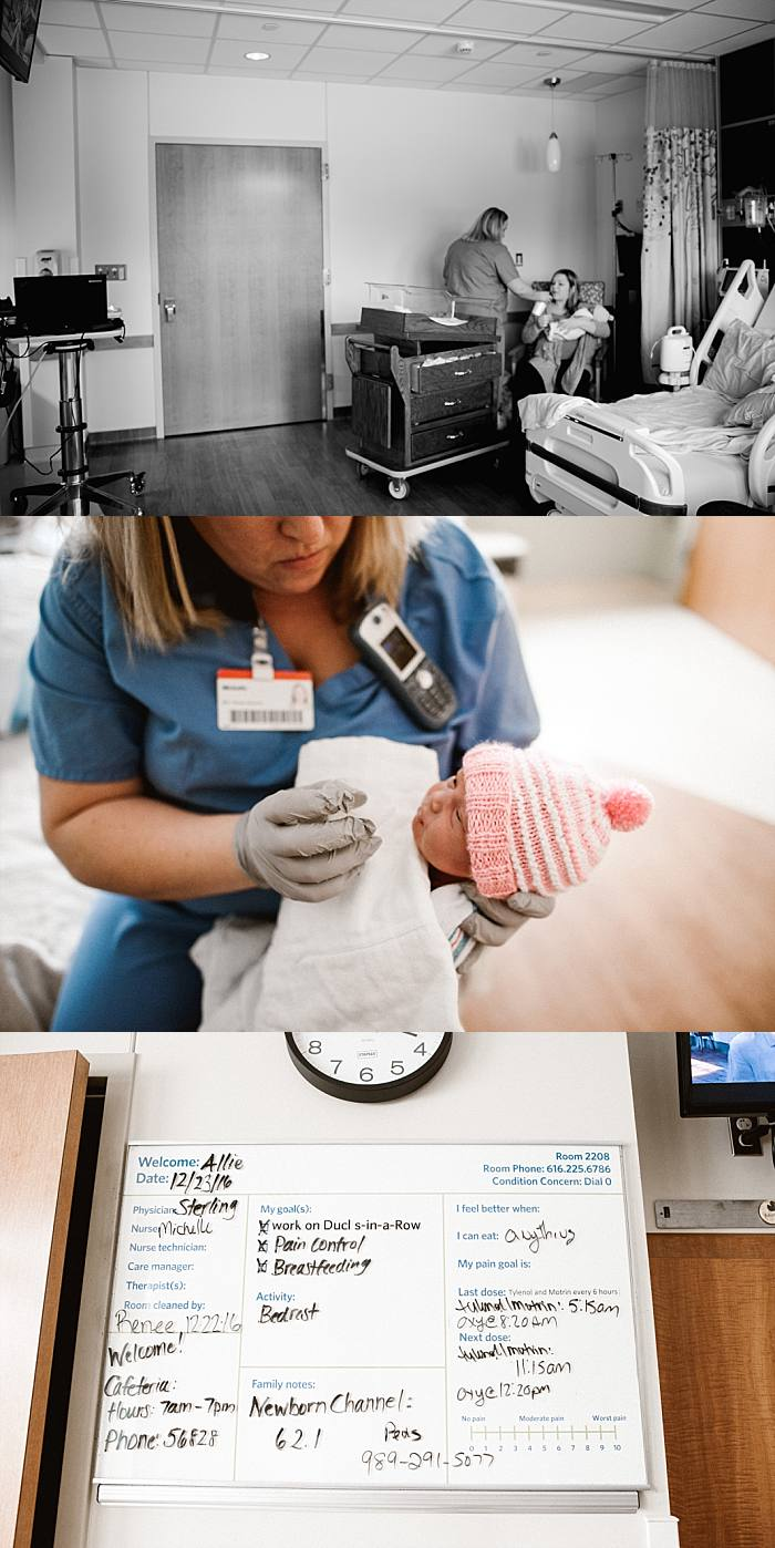 post-partum care and the nurse feeds premie baby in hospital in Grand Rapids, Michigan during lifestyle hospital newborn session