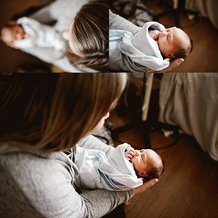 newborn baby looks at mother with open eyes - an emotional moment for the new mama.