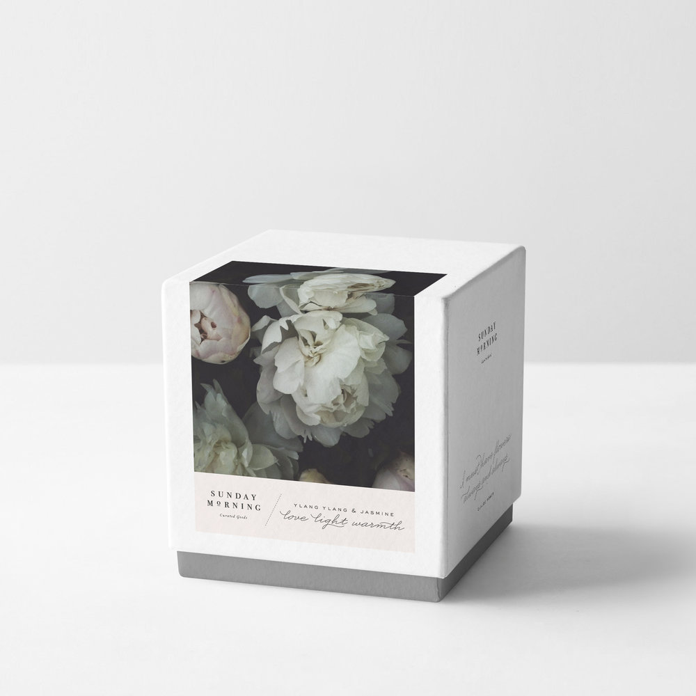 Peggy Wong Studio / candle packaging design and photography for Sunday Morning
