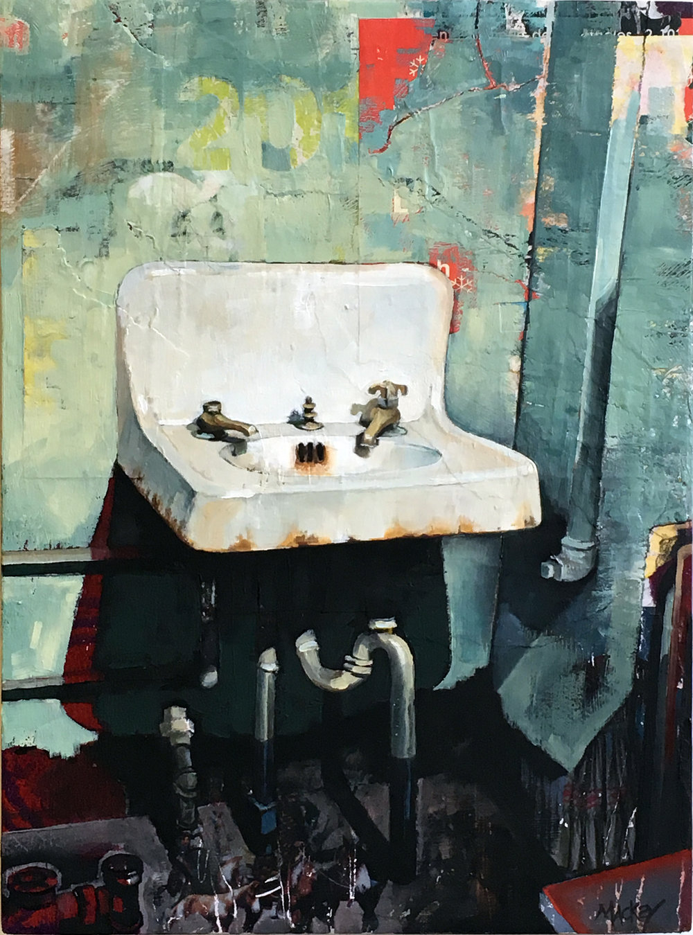 "Alcatraz Sink # 5   16"" x 12"" Oil and collage on wood"