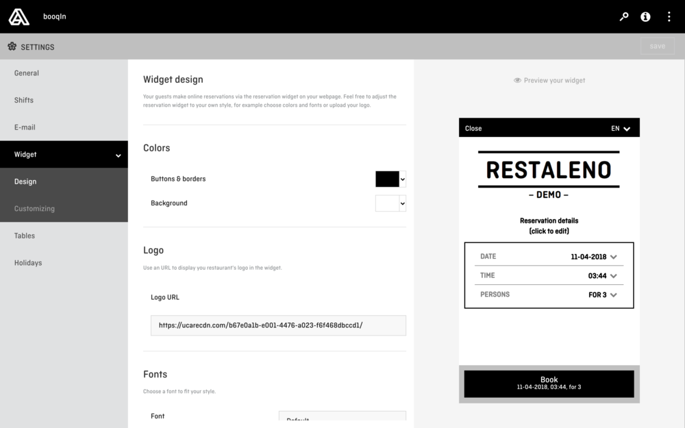 aleno Restaurant Reservation System - Customizalbe Widget without Branding.png