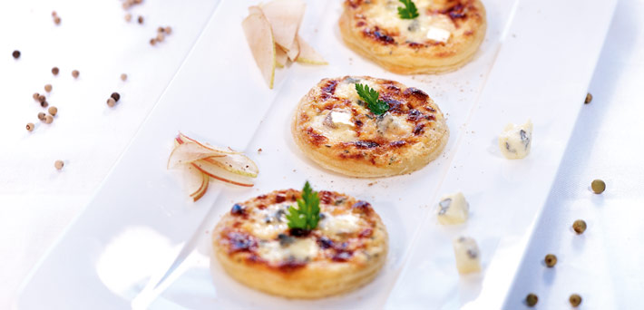 Pear and Blue Cheese Mini Pizzas