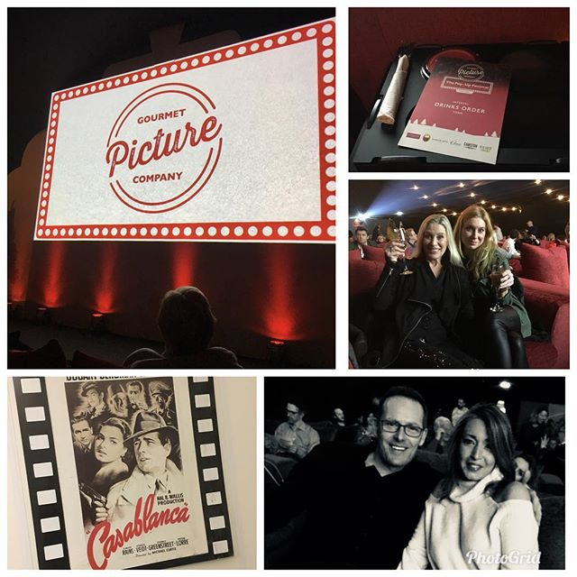 """Night out enjoying bubbles and popcorn with @gourmetpicco !!! Great food from @cheftomkerridge!! """"Heres looking at you kid""""!!!! #grestfood #filmnight #girlsnightout"""