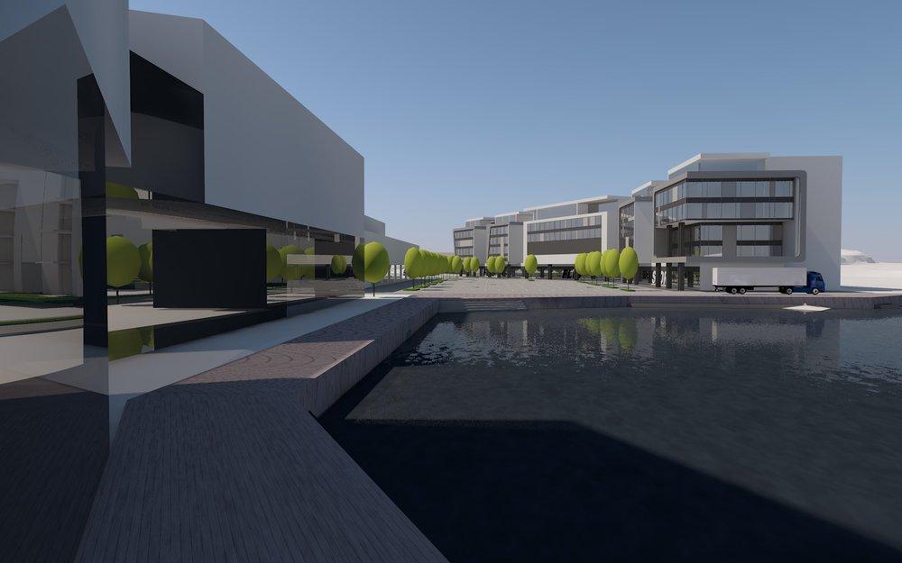 Nye bygg under planlegging: Produksjonslokaler. Kontorer i ulike størrelser. Undervisningslokaler. Mindre verkstedlokaler. Verkstedhaller. Varehandel og service. Lagerlokaler. Utelager og kaianlegg.