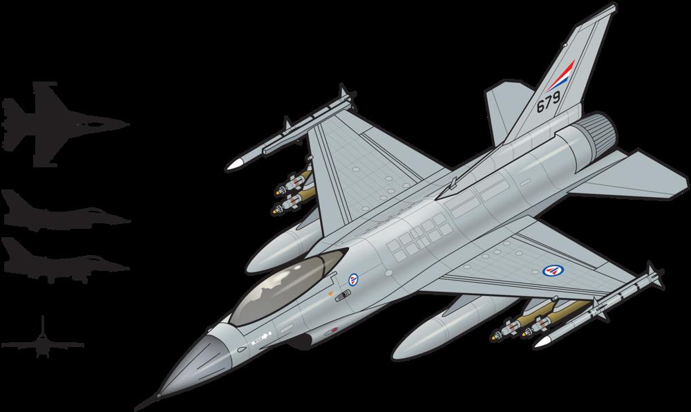 F-16  Det første flyet landet på Rygge flystasjon 15. januar 1980. det ble anskaffet 60 F-16A (ensetere) og 12 F-16B (tosetere). Flyet er et enmotors multirolle jagerfly, og den første prototypen fløy allerede i 1974. Flyet fases nå gradvis ut og erstattes av F-35A.