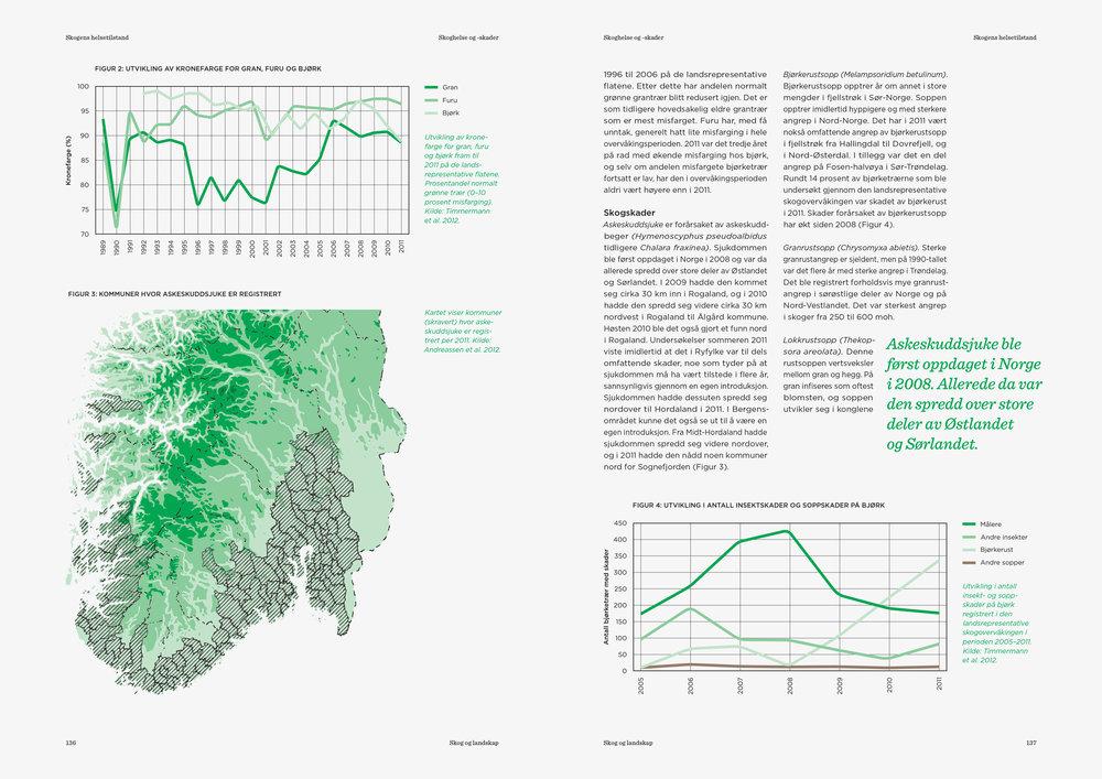"""Eksempler på grafer og statistikk brukt i rapporten """"Bærekraftig skogbruk i Norge"""""""