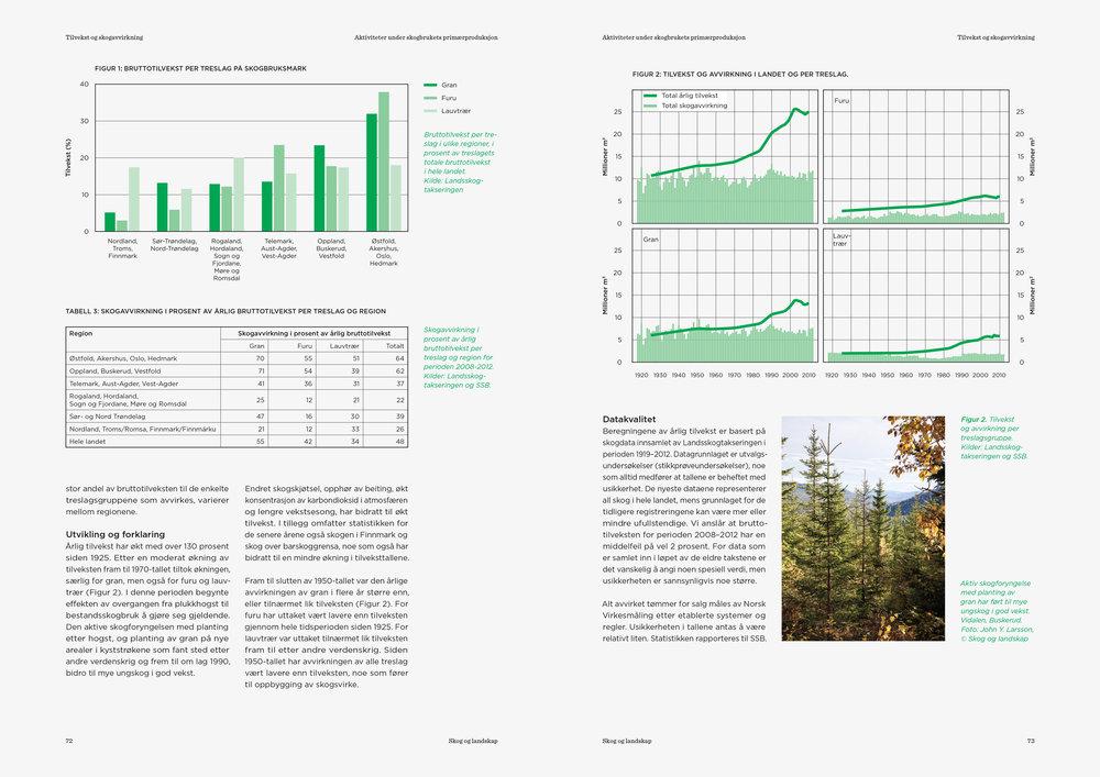"""Eksempler på layout, grafer og statistikk brukt i rapporten """"Bærekraftig skogbruk i Norge"""""""