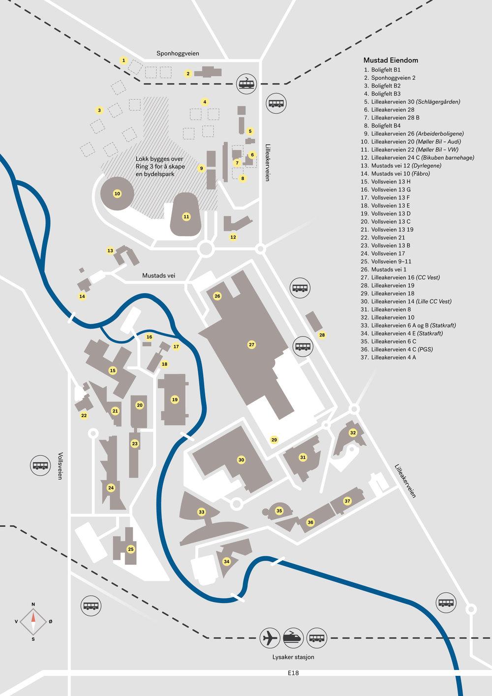 Oversikt over alle eiendommene til Mustad Eiendom