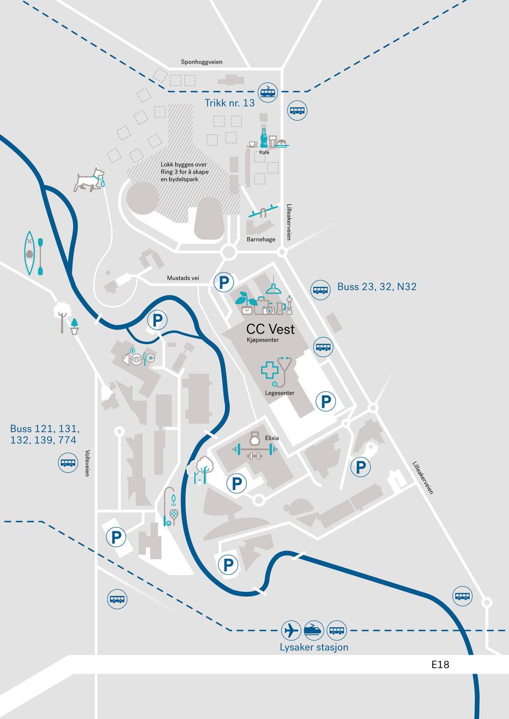 Kart med piktogrammer som beskriver noen av fasilitetene i nærområdet, brukes bl.a. i prospekter