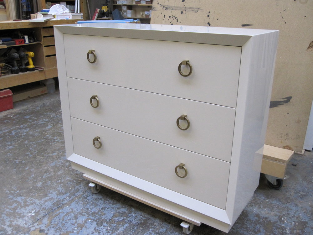 Gloss white lacquered dresser