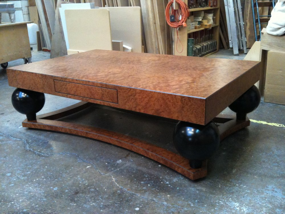 Burr elm coffee table with drawer