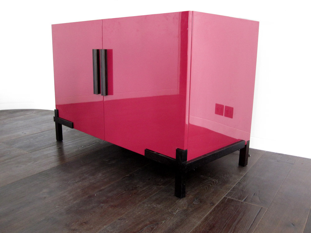 Pink gloss lacquered cabinet