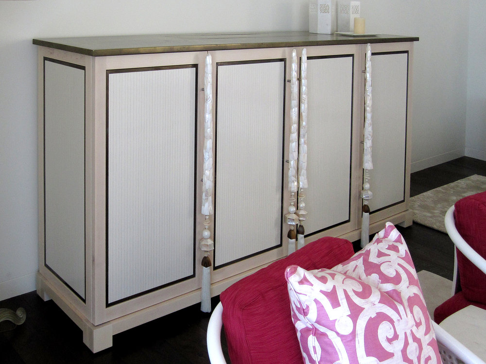 Decorative side cabinet with stone top and inlay door panels