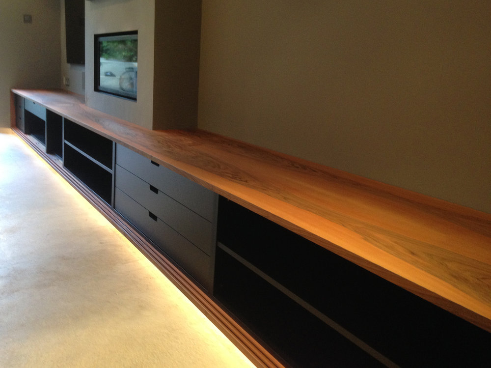 …black interior shelves and drawers  Commissioned for a private residence.