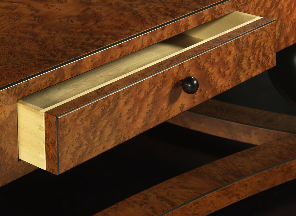 Burr elm coffee table drawer detail