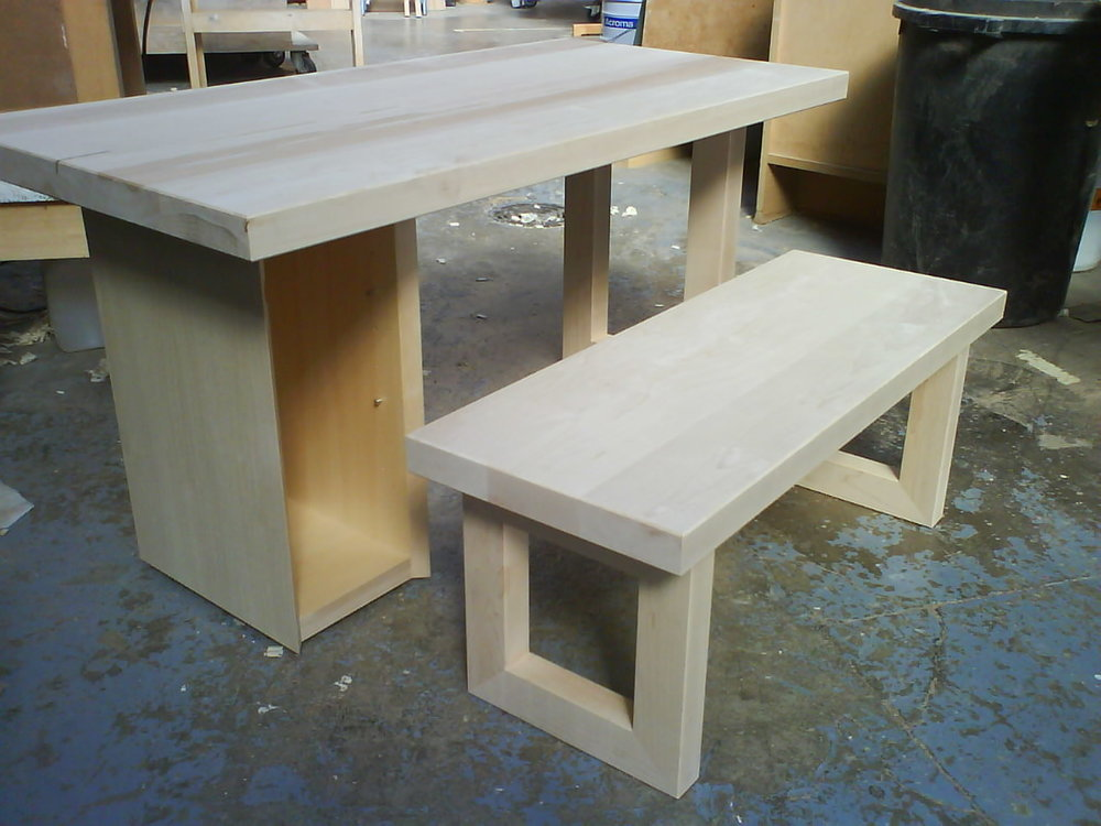 Solid maple desk and bench  Commission for a private client.