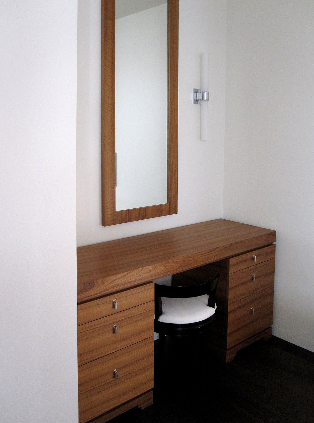 Solid teak vanity desk with matching teak mirror  Commissioned by CardenCunietti for a private client.