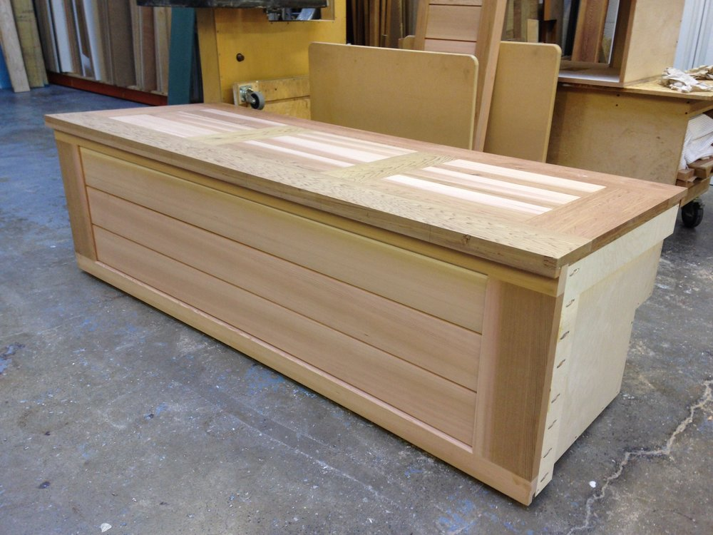 Solid cedar outdoor storage chest and bench seat