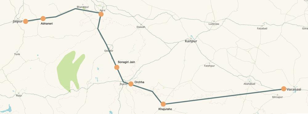 Jaipur - Varanasi Road Trip Route