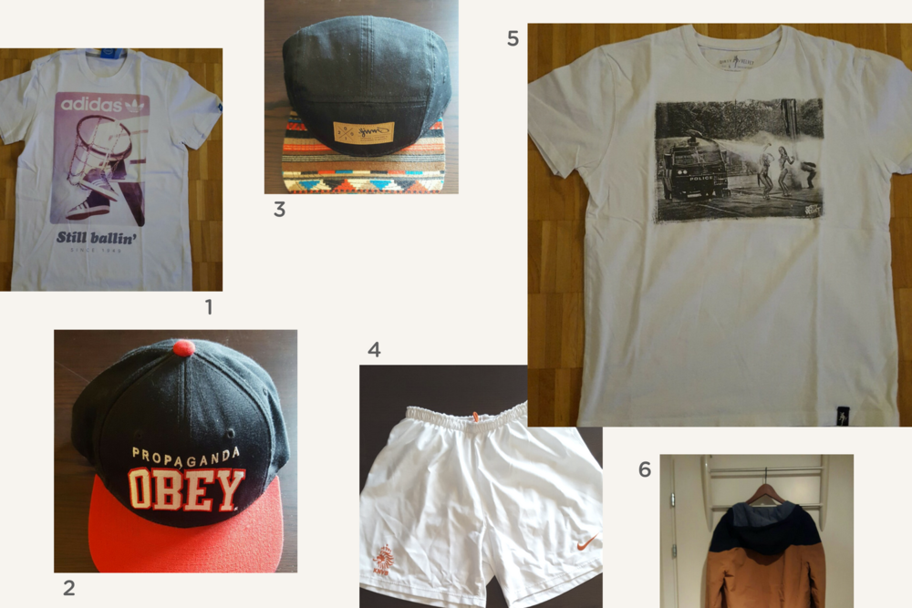 1. Adidas t-shirt 🔸2. Obey ball cap 🔸3. cap 🔸4. Nike shorts 🔸5. printed t-shirt 🔸6. Kangol jacket