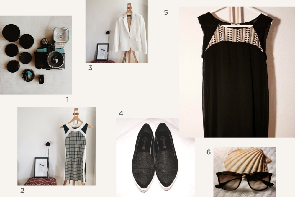 1. Vintage camera 🔸2. black&white dress 🔸3. Zara white blazer 🔸4. slippers 🔸5. black dress 🔸6. Rayban sunglasses