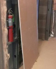 Blocked fire extinguisher