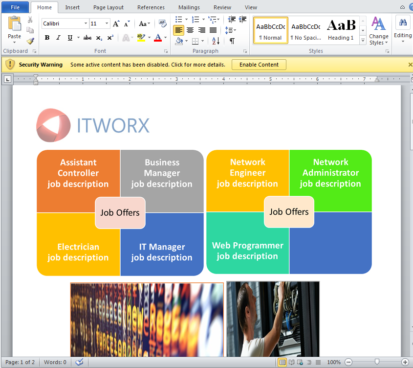 Figure 2: Malicious Word Document Delivered in Preparation of a Shamoon Malware Attack (Source: X-Force IRIS)