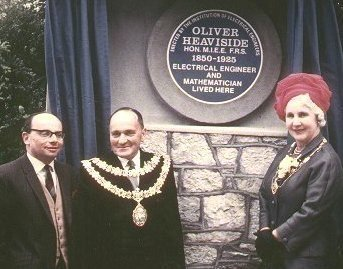 Alan Heather and the Mayor & Mayoress of Torbay in May 1967, unveiling a plaque at Homefield, Torquay- Oliver Heavside's last South Devon residence.
