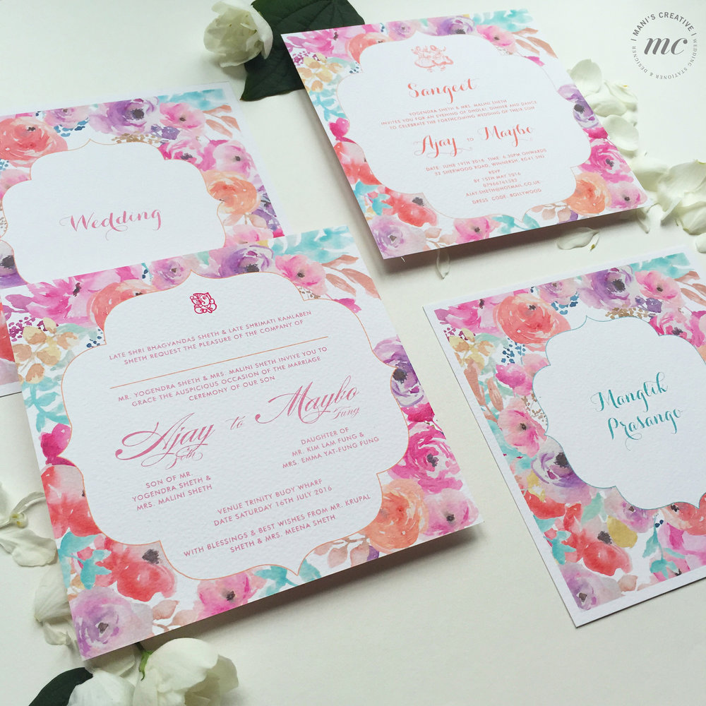 Indian Floral Wedding Stationery - Mani's Creative