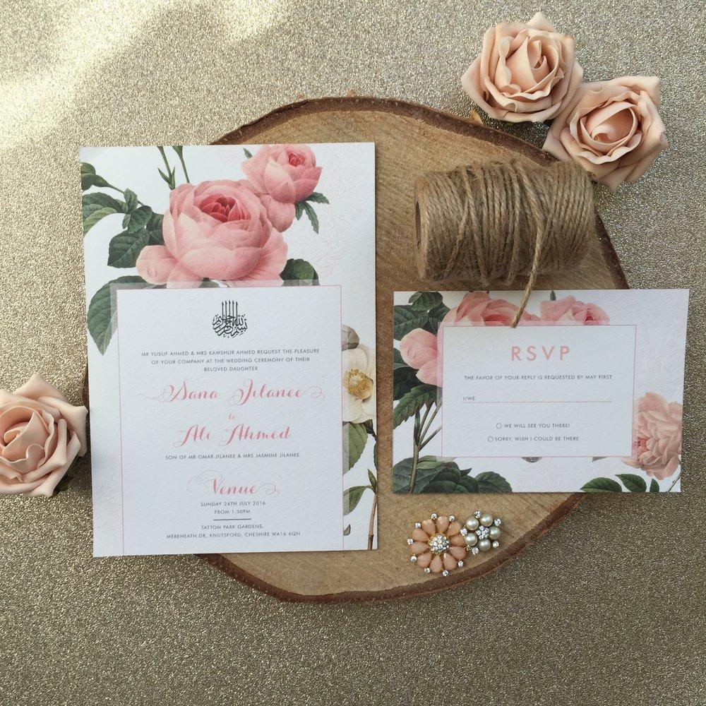 Vintage Bloom Wedding Stationery - Mani's Creative