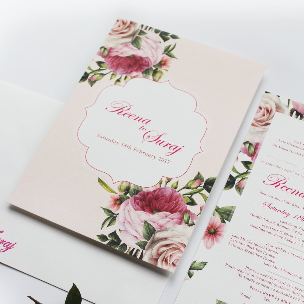 modern roses - Our SEMI-CUSTOM collection, gives you the opportunity to customise this pre-designed suite to events. Ranges start from £2.50The simple yet elegant rose design, combined with a gentle pastel colour palette brings this range to life. It's been designed to be contemporary, yet capture traditional style elements. The colours of each card can be changed to your liking but we can work on those finer details once you've chosen the colour palette for your wedding.