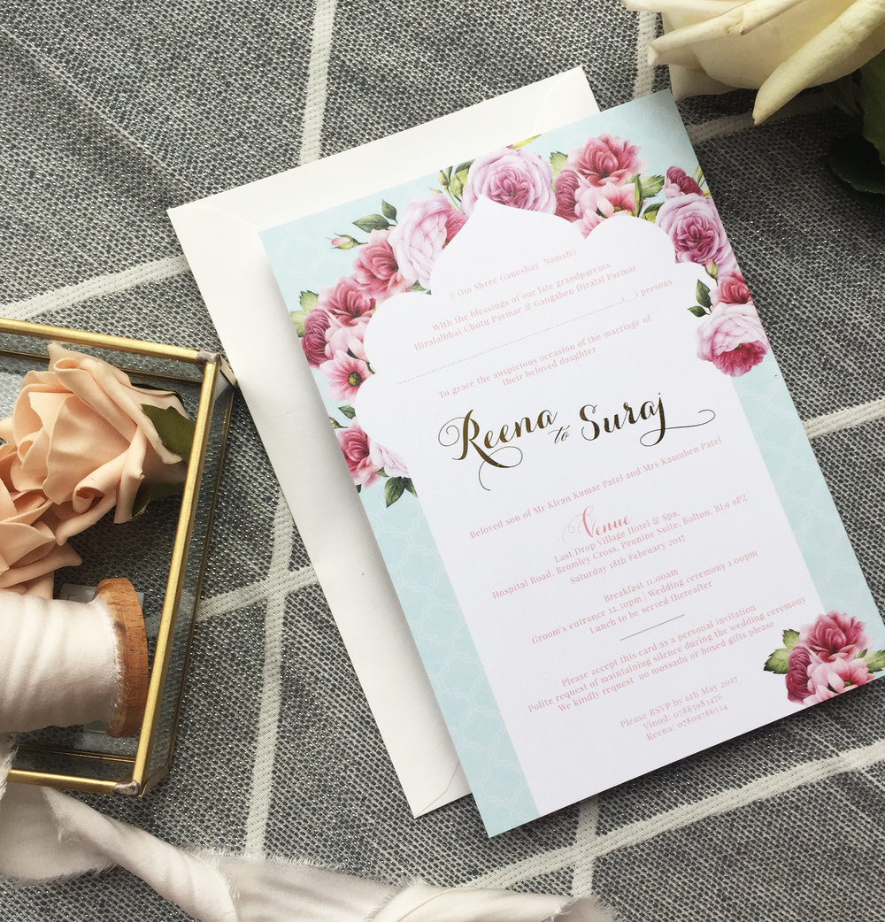 Floral fortress wedding stationery - Mani's Creative