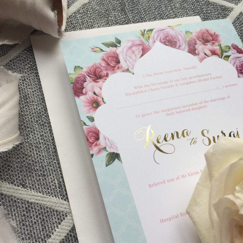 floral fortress - Our SEMI-CUSTOM collection, gives you the opportunity to customise this pre-designed suite to events. Ranges start from £2.50The simple yet elegant rose design, combined with a gentle pastel colour palette brings this range to life. It's been designed to be contemporary, yet capture traditional style elements. The colours of each card can be changed to your liking but we can work on those finer details once you've chosen the colour palette for your wedding.