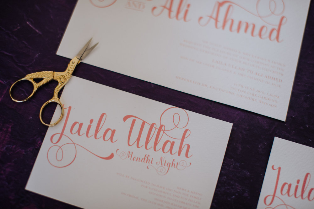 jasmine - Our SEMI-CUSTOM collection, gives you the opportunity to customise this pre-designed suite to events. Ranges start from £2.50Jasmine is a simple but fun wedding stationery collection. Honing in on the simple but flourishing nature of our Indian heritage.