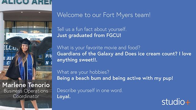 We have some new faces in our Fort Myers and Tampa offices! Welcome Business Operations Coordinators, Marlene Tenorio and Abby Combs; Senior Project Coordinator, Keith Schutter; and Marketing Manager, Tanya Bentz! We are so glad you are here and we look forward to all your successes here at Studio+. #wearestudioplus • • • #fortmyers #tampa #florida #tampabusiness #fortmyersbusiness #businessoperations #marketingmanager #projectcoordinator #architecture #architects #newhires #southfloridabusiness