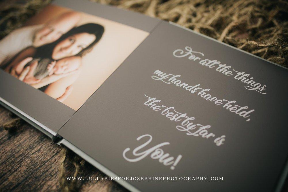 Morristown-Newborn-photographer-album-book-family-words