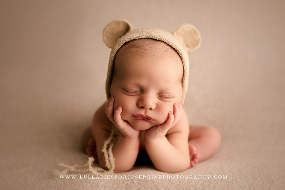 Morris county newborn photographer boy bear cute pose