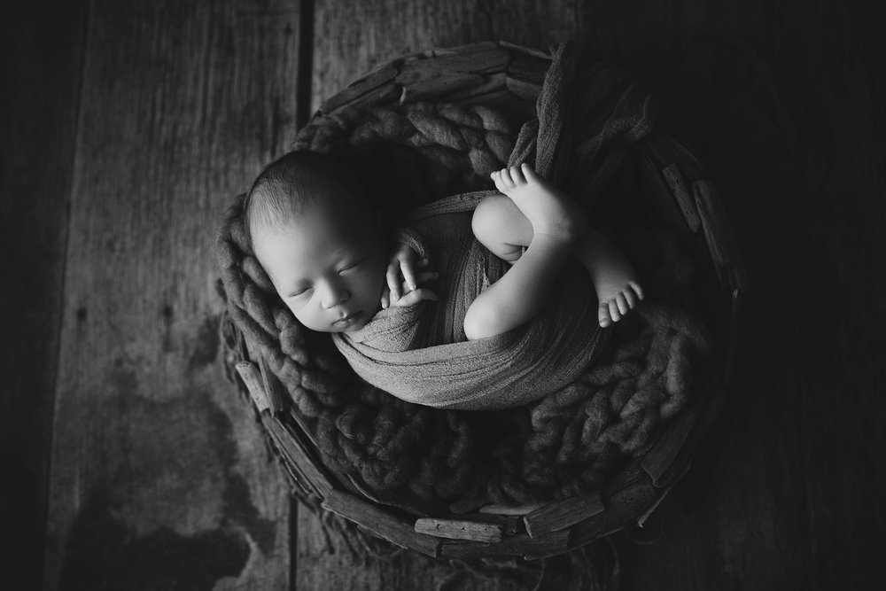 Westfield NJ Newborn Photographer bowl baby wrap rustic