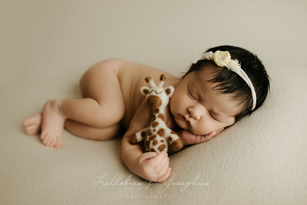 NJ-newborn-photographer-baby-sleeping-giraffe-headband