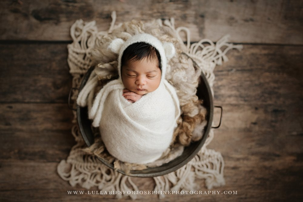 NJ new born photographer baby wrapped rustic neutral