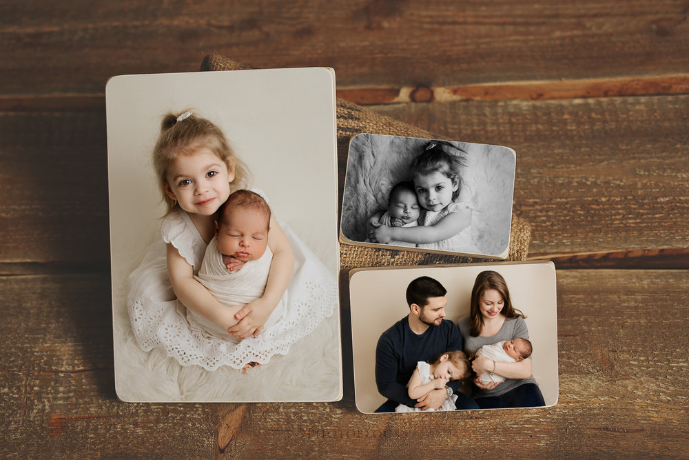 family pictured on wood prints