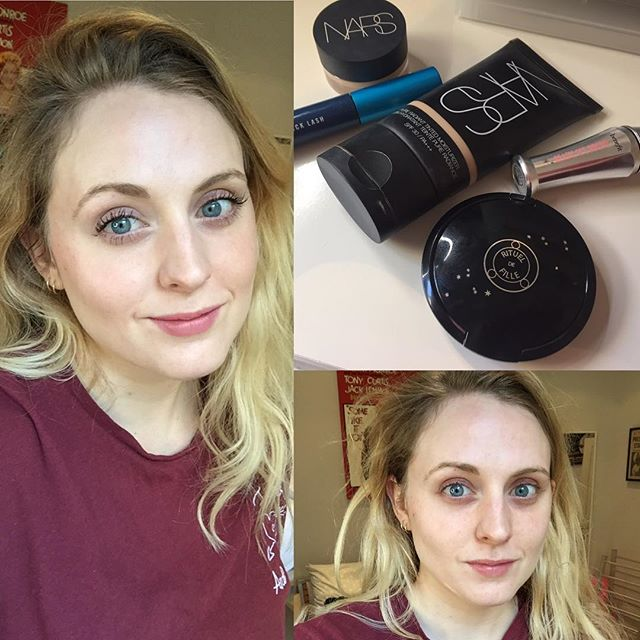 5 minutes, 5 products. I have been feeling craptacular the last few days with a chest virus but had to pop out for a bit yesterday and felt the need to 'soften' my ravaged face before facing the world, but with minimum fuss and effort. This routine would work for anyone who is time pressured (or low maintenance!) but it's amazing what a difference it can make.  Tinted moisturiser and Concealer from @narsissist (I love both) some @benefitcosmeticsuk clear brow gel, @maccosmeticsuk mascara and then some @ritueldefille cream blush on cheeks and lips. All in a moment's work.  #beforeandafter #beforeandaftermakeup #beautyblogger #beautyblog #bbloggersuk #bbloggers #makeup #makeupartist #mua #makeupjunkie #makeupaddict #5minuteface #5minutemakeup #quickandeasy #nars #ritueldefille #creamblush #lipstick #nomakeupmakeup #nomakeup #wethairdontcare #greenbeauty #crueltyfree #crueltyfreebeauty #instabeauty #fastbeauty #naturalmakeup #naturalbeauty #nofilter