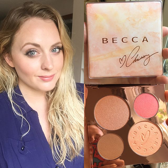 I've been having a lovely play around with the @beccacosmetics and @chrissyteigen collaboration palette. It's so beautiful and couldn't be more perfect for this time of year. It's overall a warm toned pink palette that I think will suit a surprisingly wide range of people; I'm fair and can easily make it work but I've seen reviews from women with much deeper skin tones that love it too.  It's actually very subtle applied, and not the all out glow fest you might expect, but I think that's what makes it so wearable.  It contains two highlighter shades, a bronzer and a blusher. If I had criticism to offer it would be that the two highlighter pans are much bigger than the blush and bronzer. I tend to use much more blusher and bronzer than highlighter so I think this means I'll be hitting pan on those two long before the highlighters.  The packaging is pretty but sturdy and very slimline, making this great for travel.  Overall a big 👍 from me. Well done Becca and Chrissy!  #beccacosmetics #becca #chrissyteigen #beccaxchrissy #highlight #highlighter #glow #glowingskin #makeupjunkie #makeupblog #makeupartist #beautyblog #beautyblogger #makeupreview #bronze #bronzer #blush #summermakeup #summer #instaglam #instabeauty #nofilter #naturalmakeup