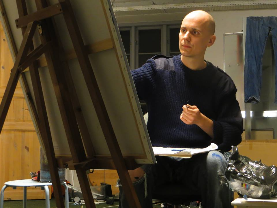 Christian Gundtoft working in his studio.