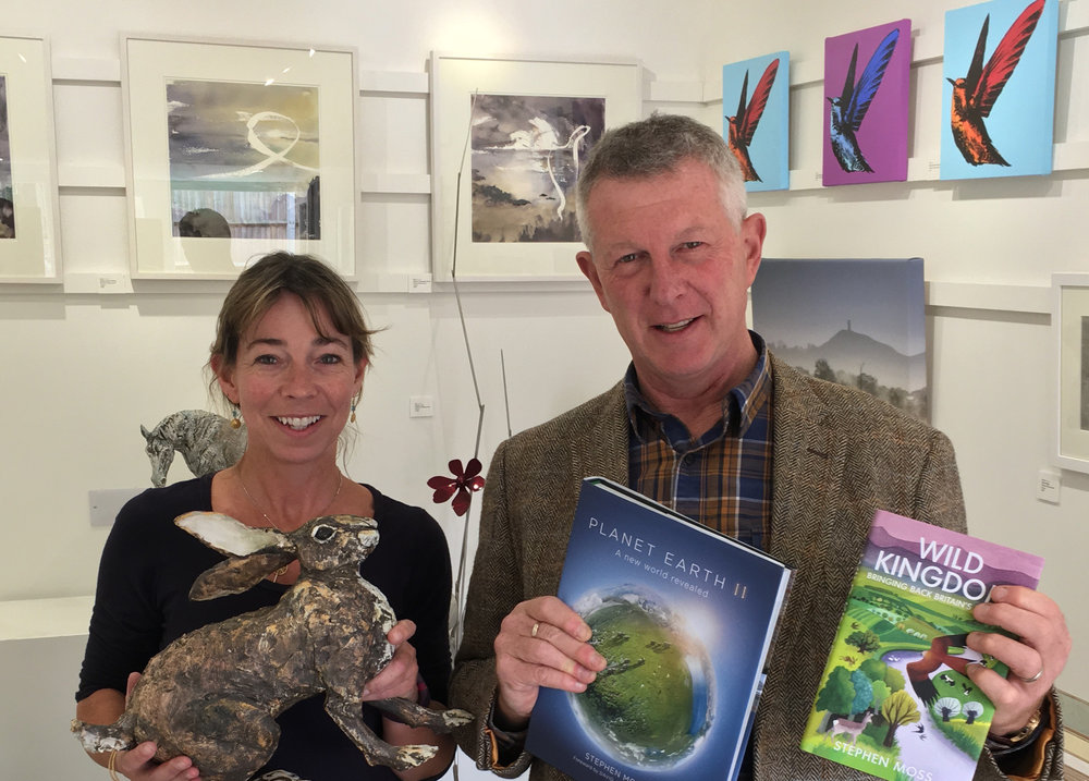Erica Sharpe and Stephen Moss preparing for 'Wildest Somerset'. See social media for updates on progress, artwork and supporting Somerset Wildlife Trust