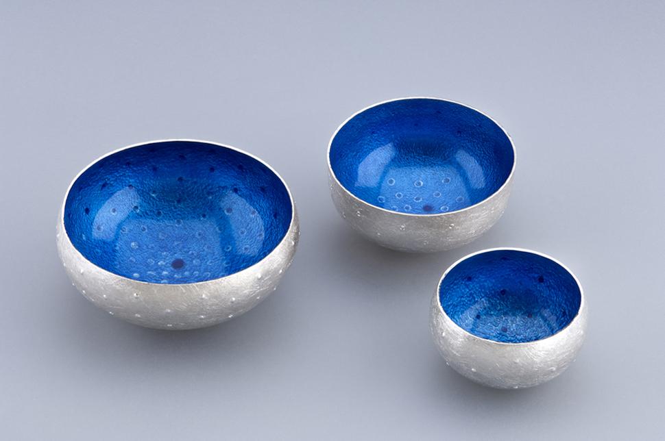 3 Enamelled Bowls/Salts