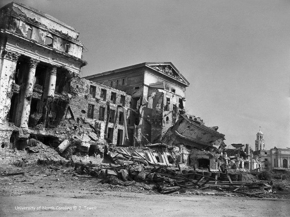 The destroyed Legislative Building.